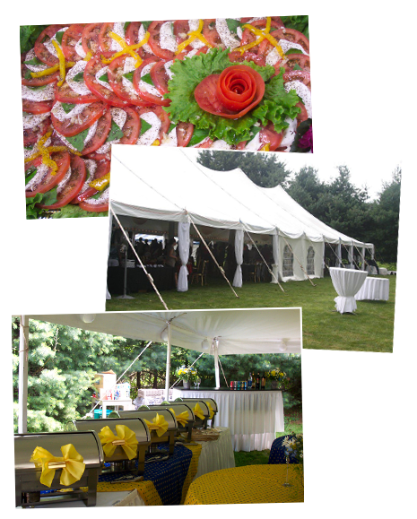 Catered party, food trays and tent